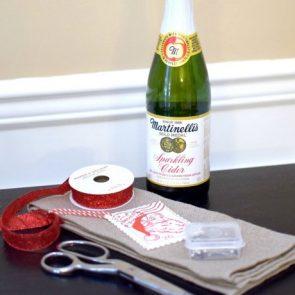 No Sew Sparkling Cider Gift Wraps