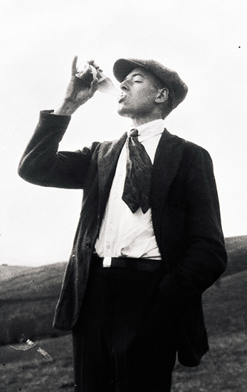 Second generation owner, Stephen G. Martinelli, Jr. takes a drink of what is believed to be one of the first bottles of Martinelli's non-alcoholic cider, of which he helped create.