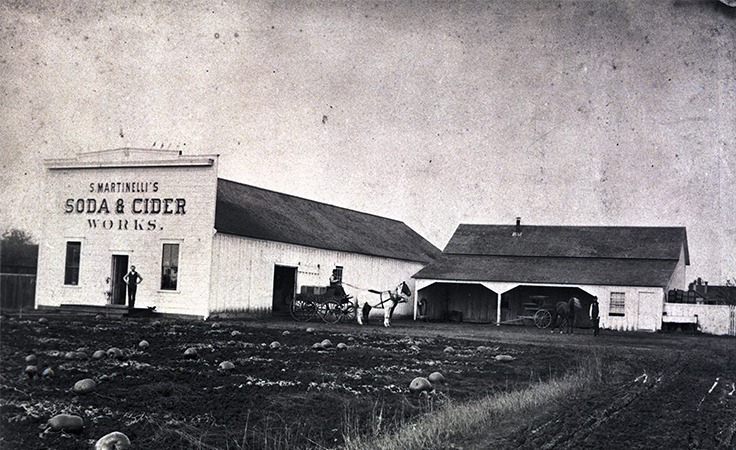 One of the first photos of Martinelli's Soda and Cider works building, circa 1885.