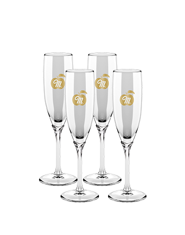 Martinelli's Glass Champagne Flutes – Set of 4
