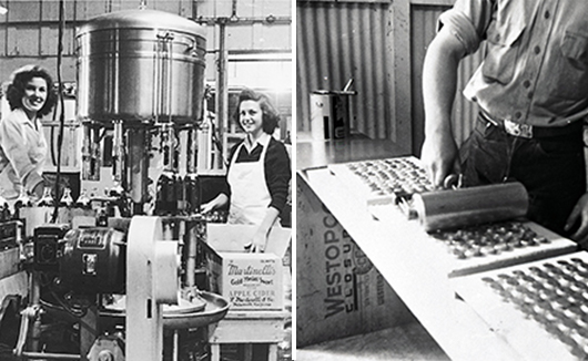 WWII posed a unique hardship for the family business. Left: Two young women, including Alice Martinelli, keep the factory running as men went to war. Right: A young man prepares bottle caps to be recycled in response to WWII metal shortages.)