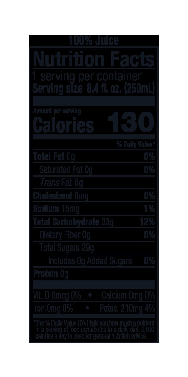 Sparkling Apple-Grape 8oz Nutrition Panel