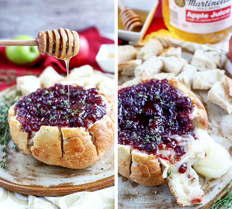 Baked Cranberry Apple Brie Bread