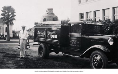 Fred Hillman delivering cider in 1932 Ford truck